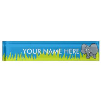Gray elephant cartoon nameplate