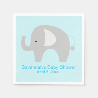 Gray Elephant Custom Party Napkin (Blue) Paper Napkin
