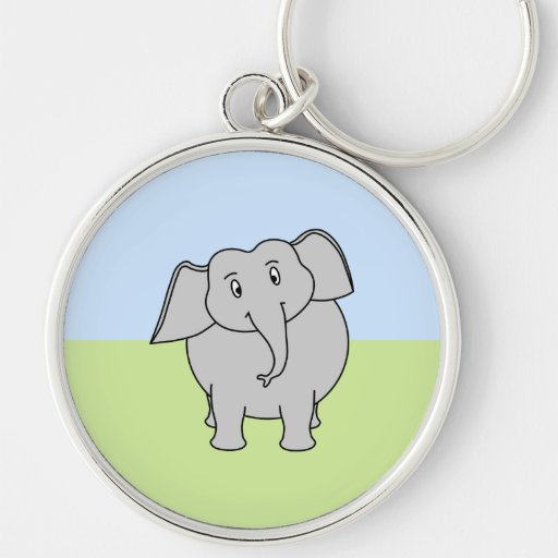 Gray Elephant Keychain
