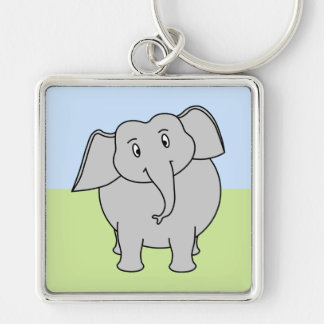 Gray Elephant Silver-Colored Square Key Ring