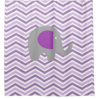 Gray Elephant on Purple, Lavender, White Chevron Shower Curtain