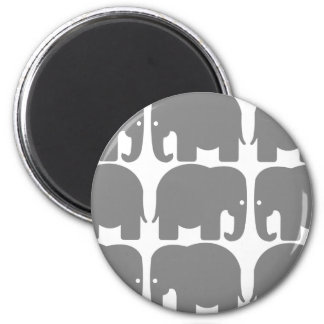 Gray Elephants Silhouette 6 Cm Round Magnet