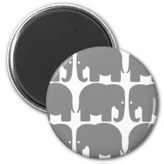 Gray Elephants Silhouette 6 Cm Round Magnet