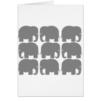 Gray Elephants Silhouette Greeting Card