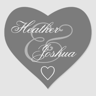 Gray Envelope Seal Wedding Heart V14 Heart Sticker