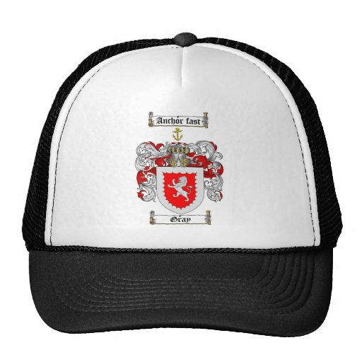 GRAY FAMILY CREST -  GRAY COAT OF ARMS MESH HATS