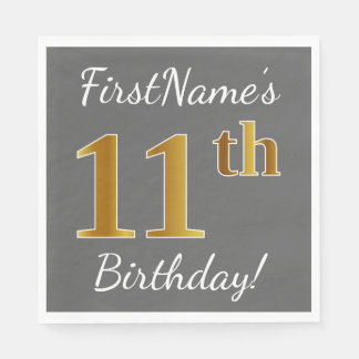 Gray, Faux Gold 11th Birthday + Custom Name Disposable Serviette