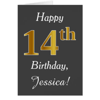 Gray, Faux Gold 14th Birthday + Custom Name Card