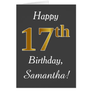 Gray, Faux Gold 17th Birthday + Custom Name Card