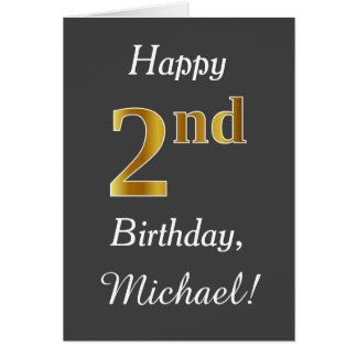 Gray, Faux Gold 2nd Birthday + Custom Name Card