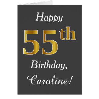 Gray, Faux Gold 55th Birthday + Custom Name Card