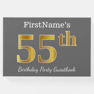 Gray, Faux Gold 55th Birthday Party + Custom Name Guest Book