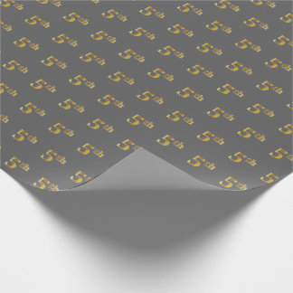 Gray, Faux Gold 5th (Fifth) Event Wrapping Paper