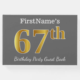 Gray, Faux Gold 67th Birthday Party + Custom Name Guest Book