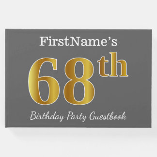 Gray, Faux Gold 68th Birthday Party + Custom Name Guest Book