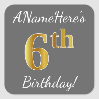 Gray, Faux Gold 6th Birthday + Custom Name Sticker