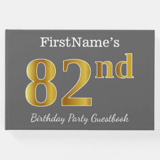 Gray, Faux Gold 82nd Birthday Party + Custom Name Guest Book