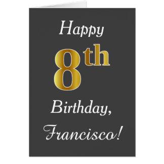 Gray, Faux Gold 8th Birthday + Custom Name Card