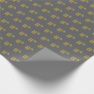 Gray, Faux Gold 8th (Eighth) Event Wrapping Paper