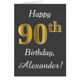 Gray, Faux Gold 90th Birthday + Custom Name Card