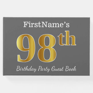 Gray, Faux Gold 98th Birthday Party + Custom Name Guest Book