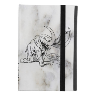 Gray Faux Marble & Black Elephants Illustration iPad Mini 4 Case