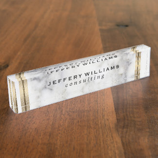Gray Faux Marble Gold Stripe Accent Nameplate