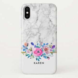 Gray Faux Marble Watercolors Flowers Bouquet iPhone X Case