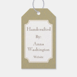 Gray Faux Wood Handcrafted Art Gift Tag