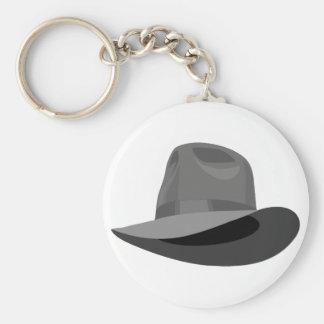 Gray Fedora narrow ribbon Basic Round Button Key Ring