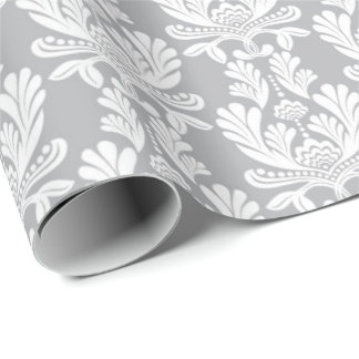 Gray Floral Baroque Girlande Marie Antoinette Wrapping Paper