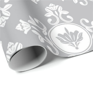 Gray Floral Baroque Princess Marie Antoinette Wrapping Paper