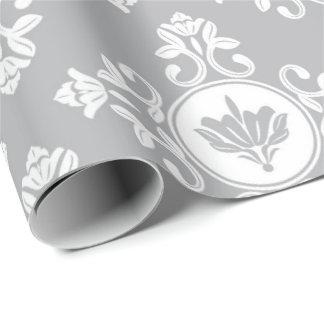 Gray Floral Baroque Royal Bridal Antoniette Wrapping Paper