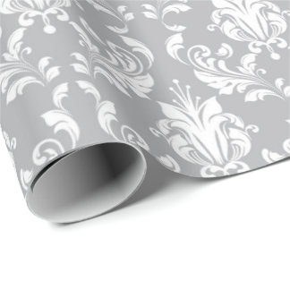 Gray Floral Damask Delicate Royal Luxury Wrapping Paper