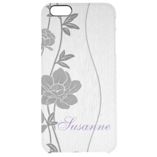 Gray Floral iPhone Clear Case