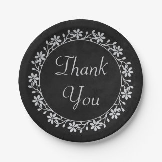 Gray Floral Thank You Black Chalkboard Wedding 7 Inch Paper Plate