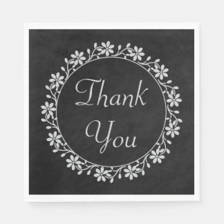 Gray Floral Thank You Black Chalkboard Wedding Disposable Serviettes