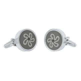 Gray Flower Abstract Cufflinks Silver Finish Cufflinks