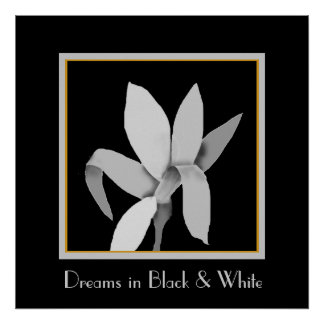Gray Flower in Black and White Poster