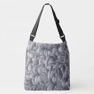 Gray Flower Pattern Crossbody Bag