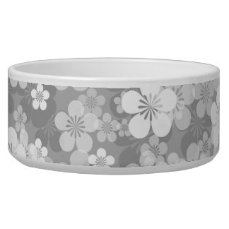 Gray Flower Pattern Large Pet Bowl