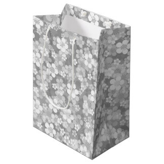 Gray Flower Pattern Medium Gift Bag