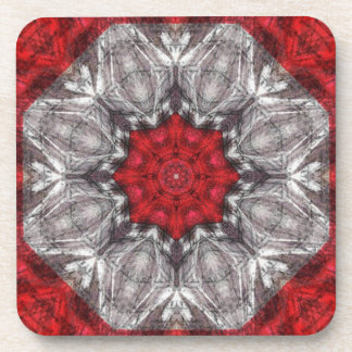 Gray Flower With Red On Textured Red Coaster