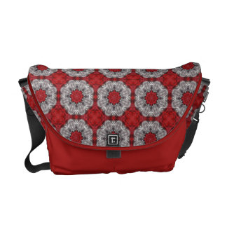 Gray Flower With Red On Textured Red Courier Bag