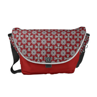 Gray Flowers And Crosses On Textured Red Messenger Bags