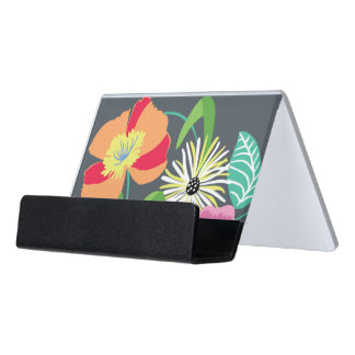 Gray Flowers Business Card Holder