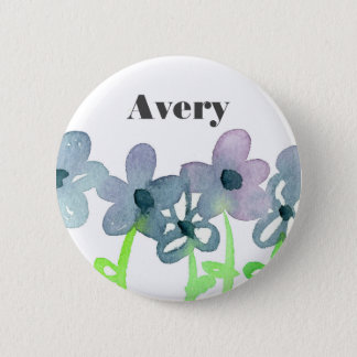 Gray Flowers Custom Name Tag 6 Cm Round Badge
