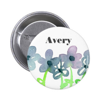 Gray Flowers Custom Name Tag 6 Cm Round Badge