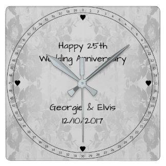 Gray Flowers Happy 25th Wedding Anniversary Square Wall Clock