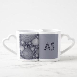 Gray fractal coffee mug set